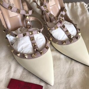 White Valentino Rockstud Pumps